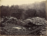interior view of breastworks on round top, gettysburg, july by timothy h. o'sullivan