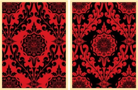 parlor pattern set of 2 prints by shepard fairey