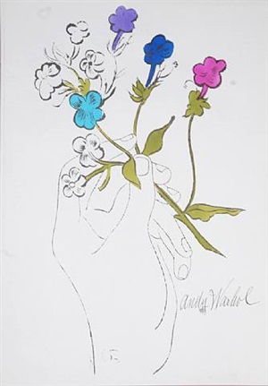 hand with flowers by andy warhol