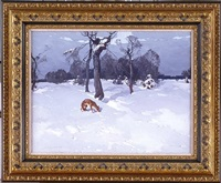 winter landscape with a fox by stepan feodorovich kolesnikov