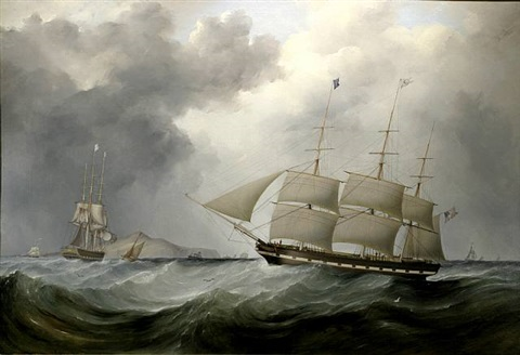 american packet champlain on approach to liverpool by samuel walters