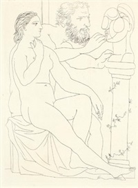 seated model and sculptor studying sculptured head (from the vollard suite) by pablo picasso
