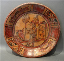 tripod plate with maya figure wearing jaguar headdress with offerings, late classic