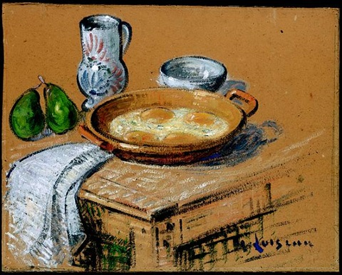 still life with fried eggs by gustave loiseau