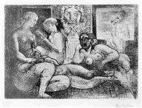 quatre femmes nues et tete sculptee, plate 82 from the suite vollard by pablo picasso