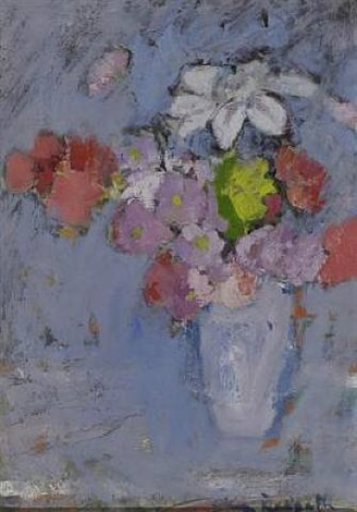 pink flowers in a vase by anne redpath