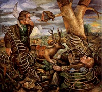 two hunters immobilised by an excessive use of bark camouflage by steven campbell