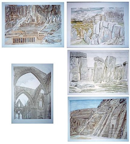 ruins and landscapes 1980 portfolio: temple at hatshepsut, sacachuman, tintern abbey, stonehenge, and temples at abu simbel by philip pearlstein
