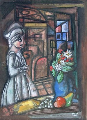 woman, interior, and still life by béla kádár
