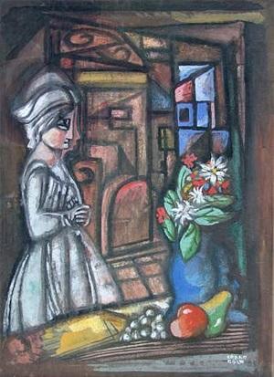 woman, interior, and still life by béla kádár