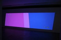 two keystoned projectors (one upside down by cory arcangel