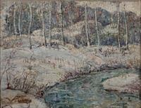 snow brook in connecticut woods, winter by ernest lawson