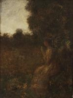 at the edge of the clearing (female profile) by george f. fuller