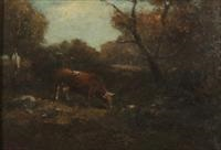 cows in the woods by george f. fuller
