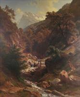 alpine scene, goatherds & children by paul weber