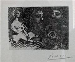 femme nue assise et trios tetes barbues by pablo picasso