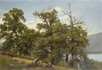 tree study, lake george by worthington whittredge
