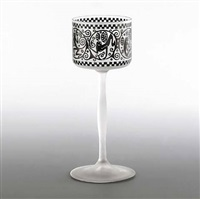 glass goblet with a frieze of monkeys by ludwig heinrich jungnickel
