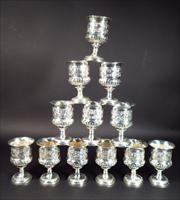 set of twelve george iii sterling silver goblets by paul storr