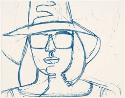 white hat and sunglasses by alex katz