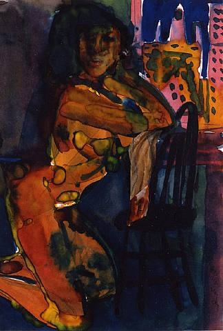 untitled (woman leaning on chair) by romare bearden