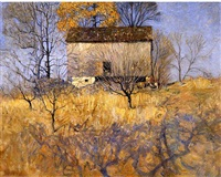 view of the barn behind john andress farm, chadds ford, pa by newell convers wyeth