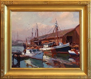 morning, gloucester harbour by emile albert gruppe