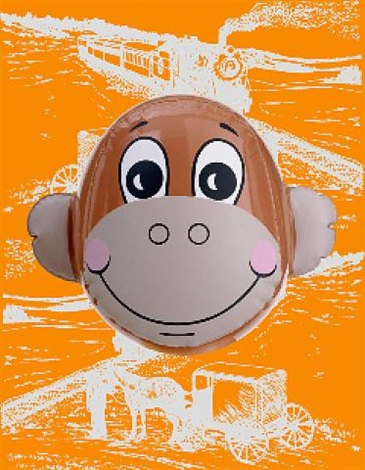 monkey train (orange) by jeff koons