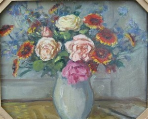 painting on reverse of vase de flwurs by albert andré