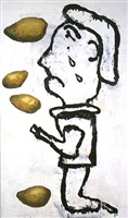 prayer painting (potato painting) by donald baechler