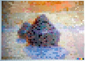 after claude monet (haystacks #5) by vik muniz