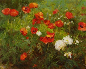 poppies and peonies by kathy anderson (sold)