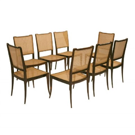 set of eight jacaranda dining chairs by joaquim tenreiro