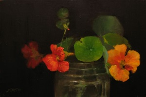 nasturtiums in a jar by john smith (sold)