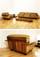 pianura sofa, table and lounge chair by mario bellini