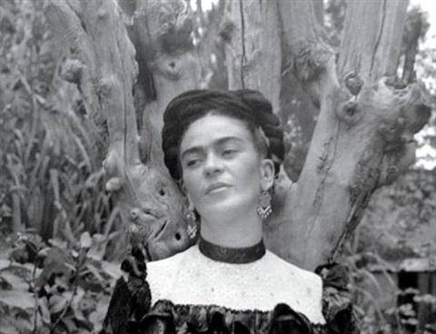 frida with dry tree branches, coyoacan by lola alvarez bravo