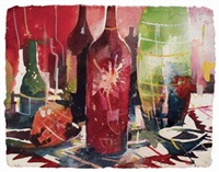 still life with red wine bottles by bernhard vogel