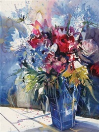 roses in blue vase by bernhard vogel
