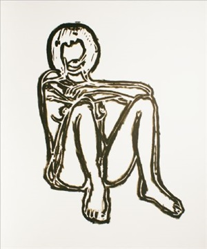 monica sitting elbows on knees (bam iii) by tom wesselmann