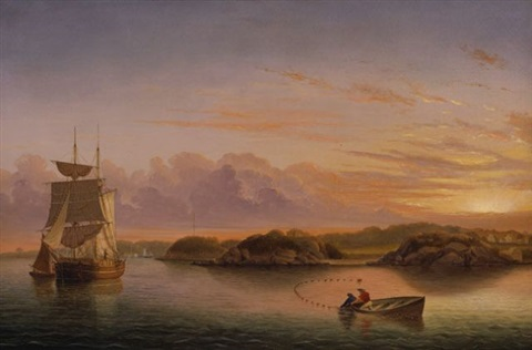 twilight over stage rocks and western shore of gloucester outer harbor, massachusetts (sold) by frances f. palmer