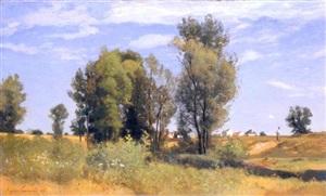paysage à moret-sur-loing by eugène antoine samuel lavieille