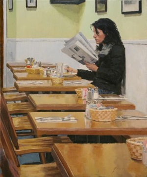 woman in diner by vincent giarrano (sold)