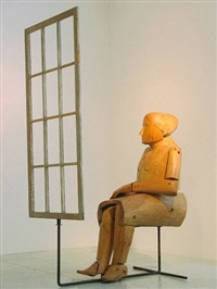 seated woman at window by louise kruger