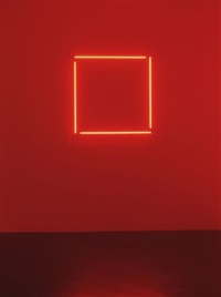red neon incomplete square by stephen antonakos
