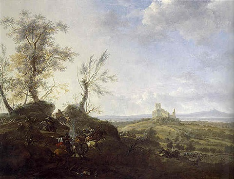 an extensive landscape with a ruined castle and a cavalry skirmish in the foreground by frederick de moucheron