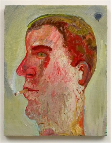 portrait of guy smoking by nicole eisenman