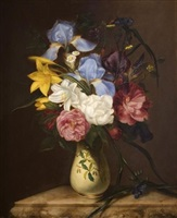 floral still life in a vase by arnoud wydeveld
