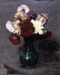 bouquet de dahlias sur un table by henri fantin-latour