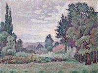 paysage aux deux cyprés by jean metzinger