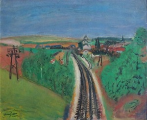 landscape with train-rail by henri hayden